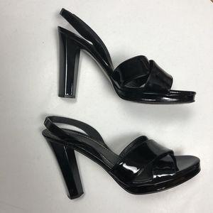 DIANE VON FURSTENBERG Heels Size 8.5 Black Leather